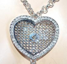 COLLANA donna LUNGA elegante CUORI ARGENTO s valentino idea regalo strass ciondoli catena E55
