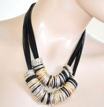 COLLANA elegante NERA anelli ARGENTO fili ORO ROSA sexy donna necklace colar 730
