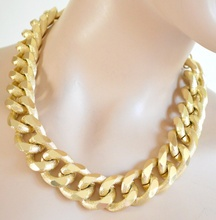 COLLANA GIROCOLLO donna catena anelli oro dorata satinata Necklace Collar ожерелье Colar Halskette D45