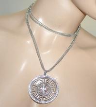 COLLANA lunga argento donna girocollo ciondolo croce strass catena regalo elegante multi-fili A21