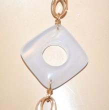 COLLANA LUNGA donna argento oro rosa dorata pietre ambra cipria anelli ovali GP7