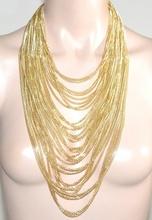 COLLANA LUNGA donna oro dorata catena multi fili pendenti elegante collier G44