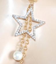 COLLANA LUNGA donna ORO elegante ciondolo stella argento strass lunga girocollo perle Z4