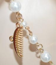 COLLANA LUNGA donna PERLE ORO CIONDOLI make up profumo rossetto specchietto collier collar N4