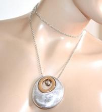 COLLANA lunga girocollo donna ciondolo zigrinato argento oro dorato catenina A3