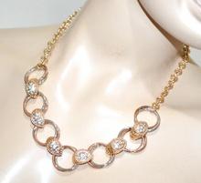 COLLANA oro dorata donna anelli argento rosato strass collier cerimonia G20