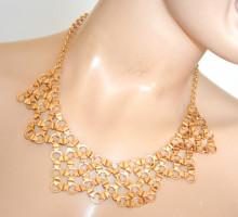 COLLANA ORO dorato girocollo donna collier collarino semi rigido colletto elegante cerimonia N3
