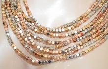 COLLANA ORO ROSA ARGENTO DORATO donna multifili girocollo micro pietre metallo catena multipla collier N67