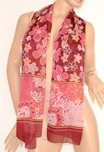 COPRISPALLE seta donna STOLA foulard amaranto/rosa cerimonia sciarpa  x abito elegante trasparente sera floreale 125E