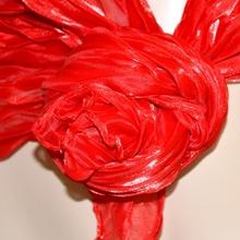 Foulard donna coprispalle maxi stola cerimonia seta rosso ondulato plissettato sciarpa da sera tinta unita 115D