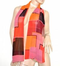 FOULARD donna rosa glicine rosso corallo nero arancio multicolore stola coprispalle velato G56