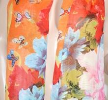 FOULARD donna seta stola coprispalle floreale estivo x abito\vestito velato bufanda mujer arancio 71