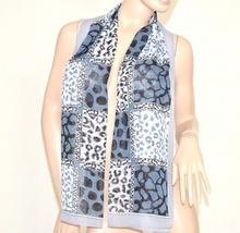 FOULARD donna seta stola coprispalle x abito\vestito da cerimonia velato bufanda mujer leopardato azzurro-celeste 62