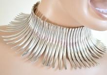 GIROCOLLO donna COLLANA COLLARINO Argento Metallo Sexy elegante rigida Necklace halskette collier collar colar ожерелье A64