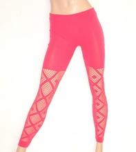 LEGGINGS donna ROSA FUCSIA pantacollant fuseaux rete skinny pantalone sexy elastico E01