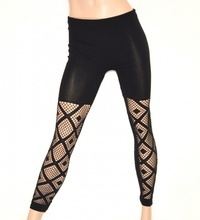 LEGGINGS NERO donna pantacollant fuseaux rete skinny pantalone sexy elastico E01