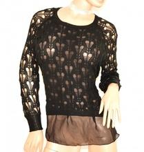 MAGLIA FILO NERA donna manica lunga maglietta maglione maglioncino F5