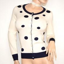 MAGLIETTA AVORIO BLU donna cardigan golfino sottogiacca maglia manica lunga bottoni F70