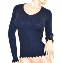 MAGLIETTA BLU manica lunga donna maglione sottogiacca scollatura V costine A25