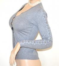 Maglietta cardigan GRIGIO donna maglia manica lunga bottoni maglioncino ricamo A29