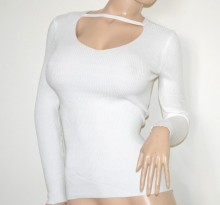 MAGLIETTA donna BIANCA maglia manica lunga pull over sottogiacca costine Koszulka G62