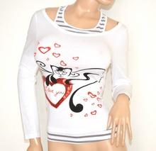 MAGLIETTA donna BIANCA maniche lunghe t-shirt cotone maglia sottogiacca F50