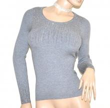 MAGLIETTA donna GRIGIO maglia manica lunga sottogiacca girocollo maglioncino A15
