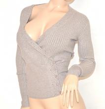 MAGLIETTA donna maglia BEIGE TORTORA sottogiacca maglioncino strass chiodini scollo a V pullover maniche lunghe bottoni Z35