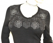 MAGLIETTA donna NERA maglia manica lunga strass sottogiacca ricamata maglione F90