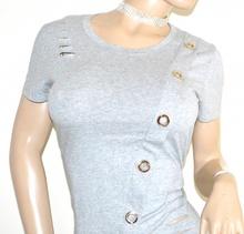 MAGLIETTA GRIGIO donna manica corta cotone elastico girocollo T-shirt sexy tagli G14