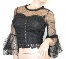 MAGLIETTA NERA donna corpetto pizzo ricamato maglia tulle velata elegante cerimonia G105
