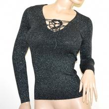 MAGLIETTA NERA donna maglione manica lunga pullover maglia laccetti lurex A45