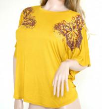 MAGLIETTA ORO AMBRA donna tunica t-shirt copricostume maglia manica corta sport P1