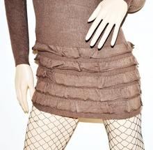 MAGLIONE LUNGO donna MARRONE lana cashmere MAXI PULL costine a manica lunga 40