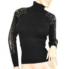 MAGLIONE NERO collo alto donna maglietta manica ricamata sottogiacca strass G3