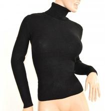premium selection 75ac4 e24f2 MAGLIONE NERO donna collo alto maglietta manica lunga maglioncino maglia  F135