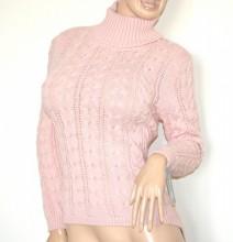 MAGLIONE ROSA donna lana manica lunga maglietta collo alto trecce made italy G66