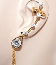 MONO ORECCHINO donna oro dorato cristalli strass fili pendenti elegante CC155