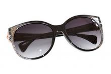 OCCHIALI da sole donna nere argento oro dorate lenti ovali sunglasses темные F35