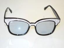 OCCHIALI da SOLE donna NERE lenti ovali argento lurex brillantini glitter Sun glasses BB16
