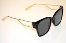 OCCHIALI da SOLE donna NERI aste ORO dorate metallo lenti ovali sunglasses BB43