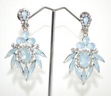 ORECCHINI a CLIPS donna argento gocce ghiaccio cristalli trasparenti pendenti eleganti A42