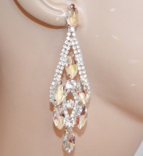 ORECCHINI ARGENTO donna cristalli gocce strass pendenti lunghi cerimonia sposa eleganti N1