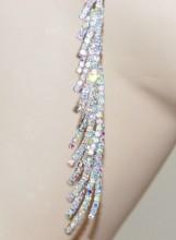 ORECCHINI ARGENTO donna CRISTALLI strass boreali eleganti pendenti lunghi da SPOSA cerimonia Z3