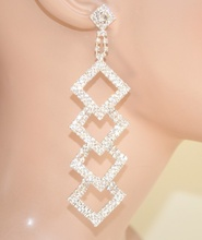 ORECCHINI argento donna eleganti pendenti cristalli Pendientes strass серьги boucles 870