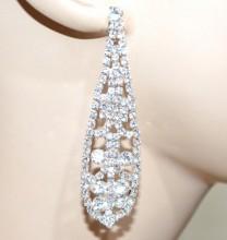 ORECCHINI argento donna strass cristalli pendenti lunghi ovali boucles d'oreilles CC115