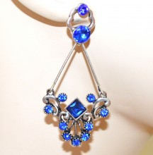 ORECCHINI ARGENTO strass cristalli BLU donna pendenti etnici ragazza earrings CC18