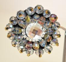 ORECCHINI CRISTALLI GRIGIO donna CLIPS bottone strass al lobo perline oro P19