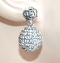 ORECCHINI donna a lobo argento strass bottone bigiotteria regalo boucles F268