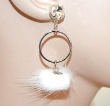 ORECCHINI donna argento cerchi pendenti cristallo pon pon bianco ragazza boucles d'oreilles CC84